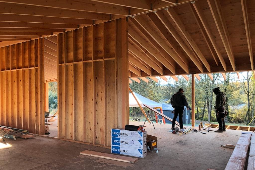 Divine House. Start of interior framing
