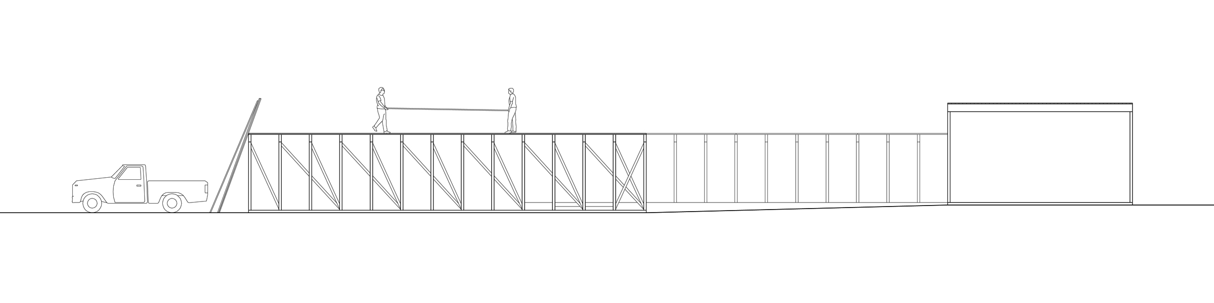 East Amazon Studio. East elevation, under construction