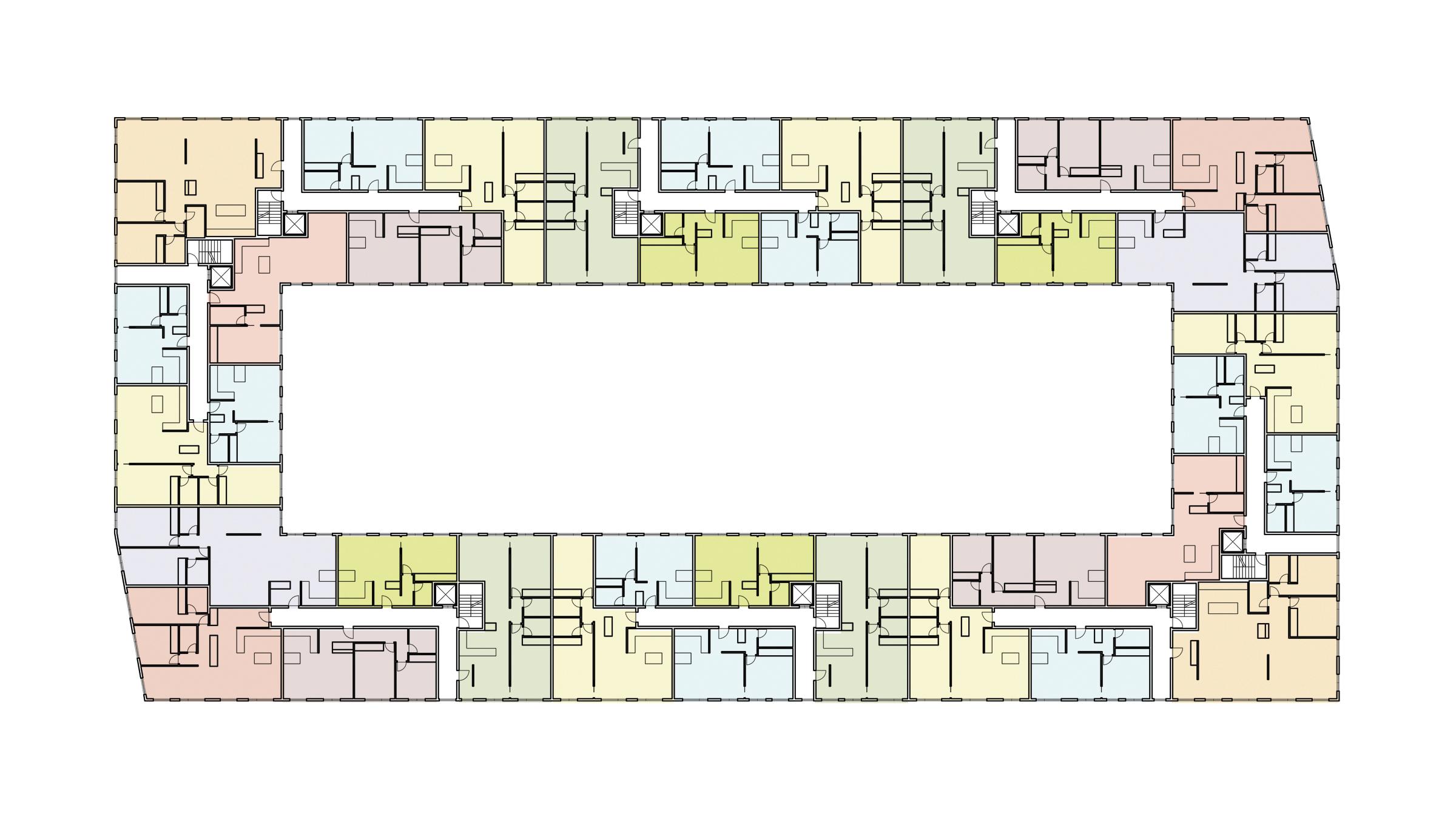Housing Block. Typical building floor plan