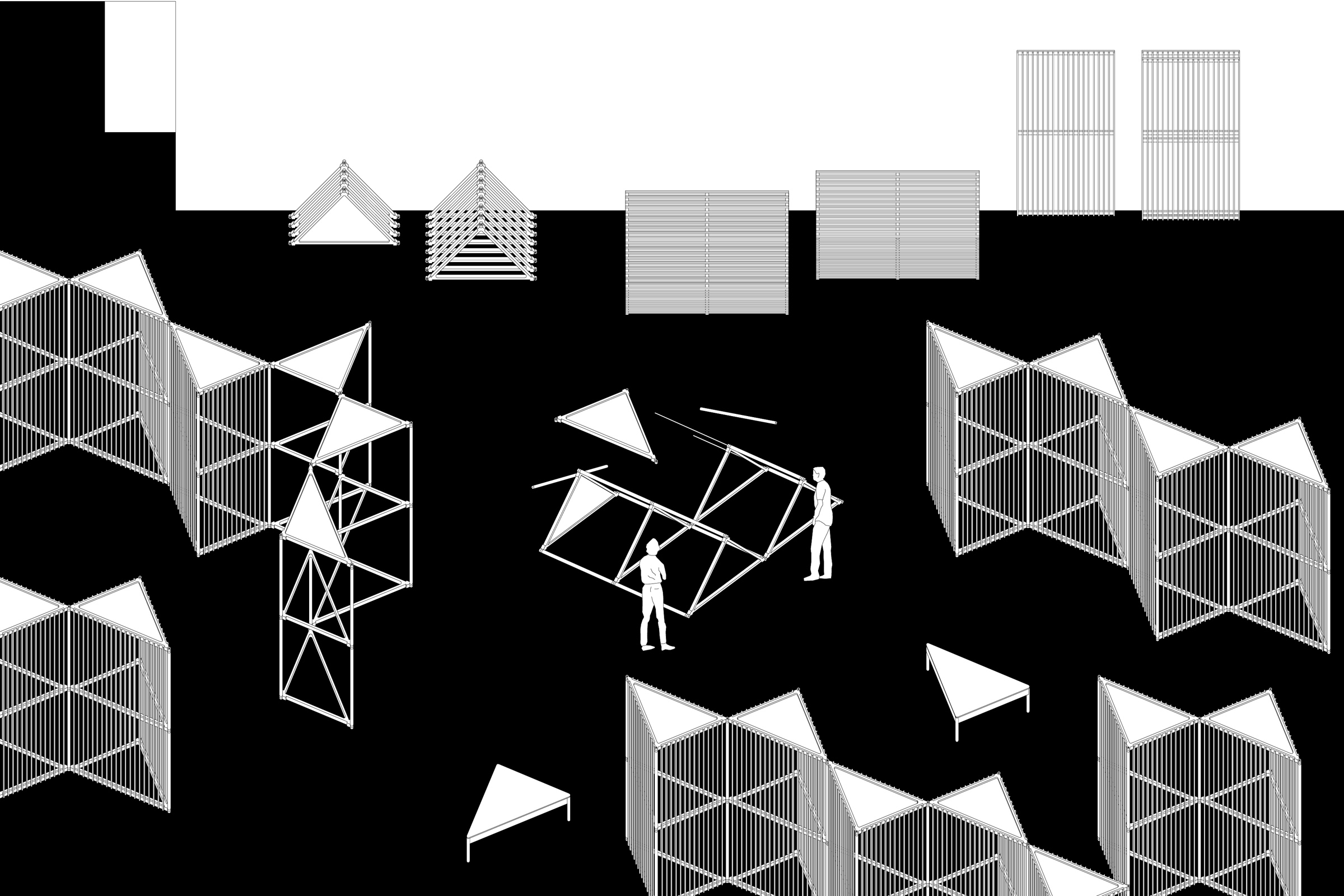 Josef Albers Exhibition. Axonometric view of the framework set-up