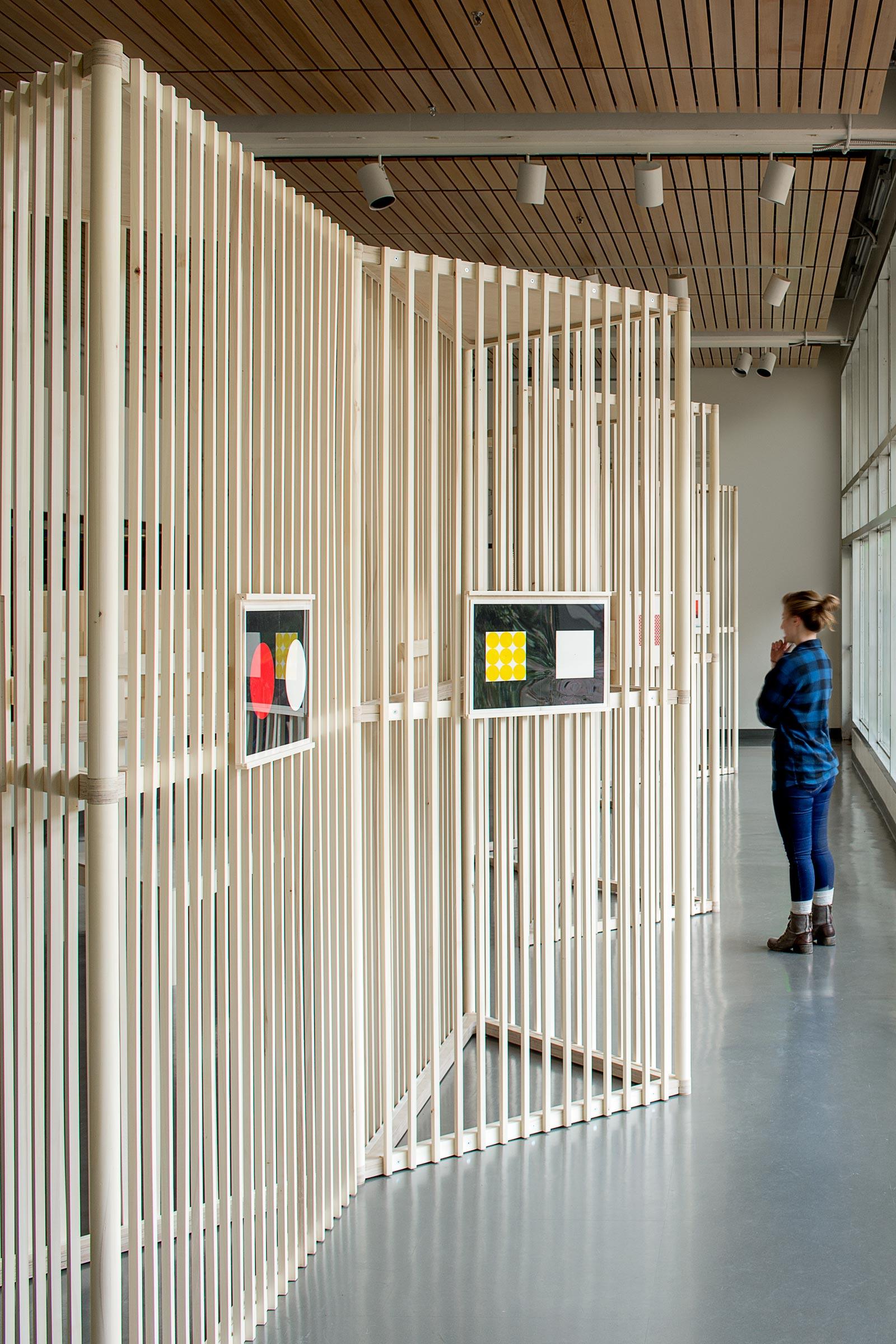 Josef Albers Exhibition. Person viewing