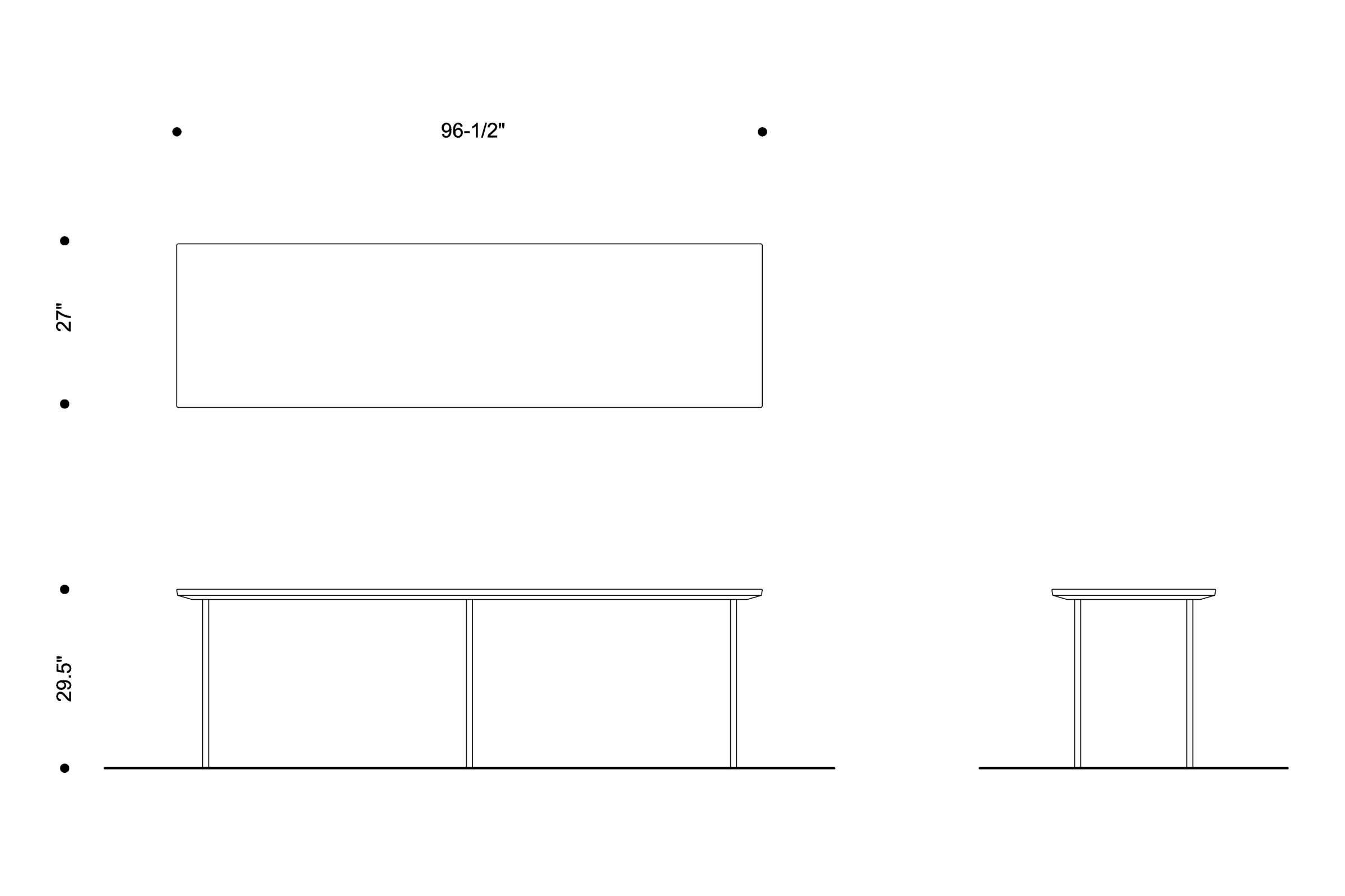 Long Table. Plan and elevations
