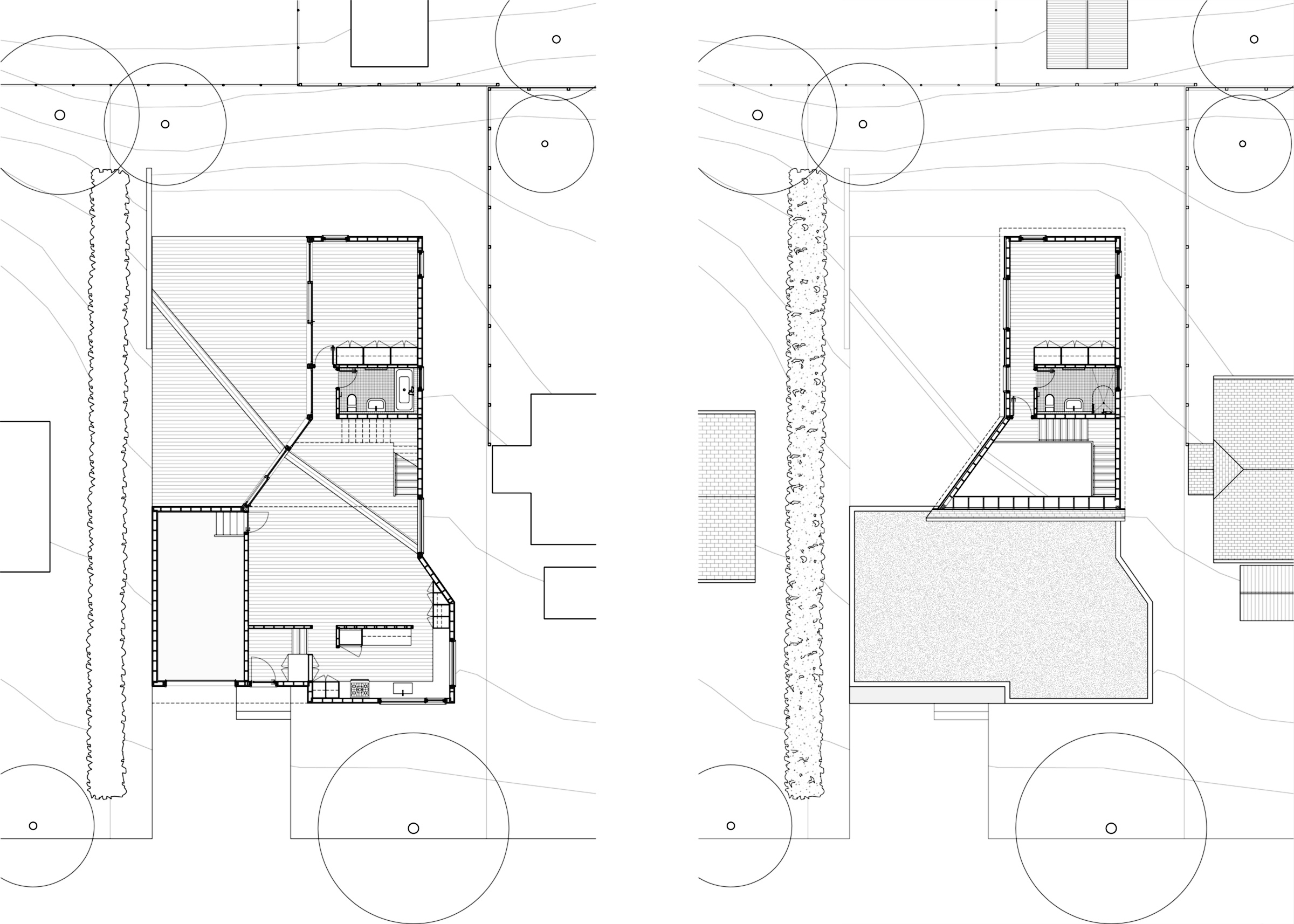 M House. Ground and second floor plans
