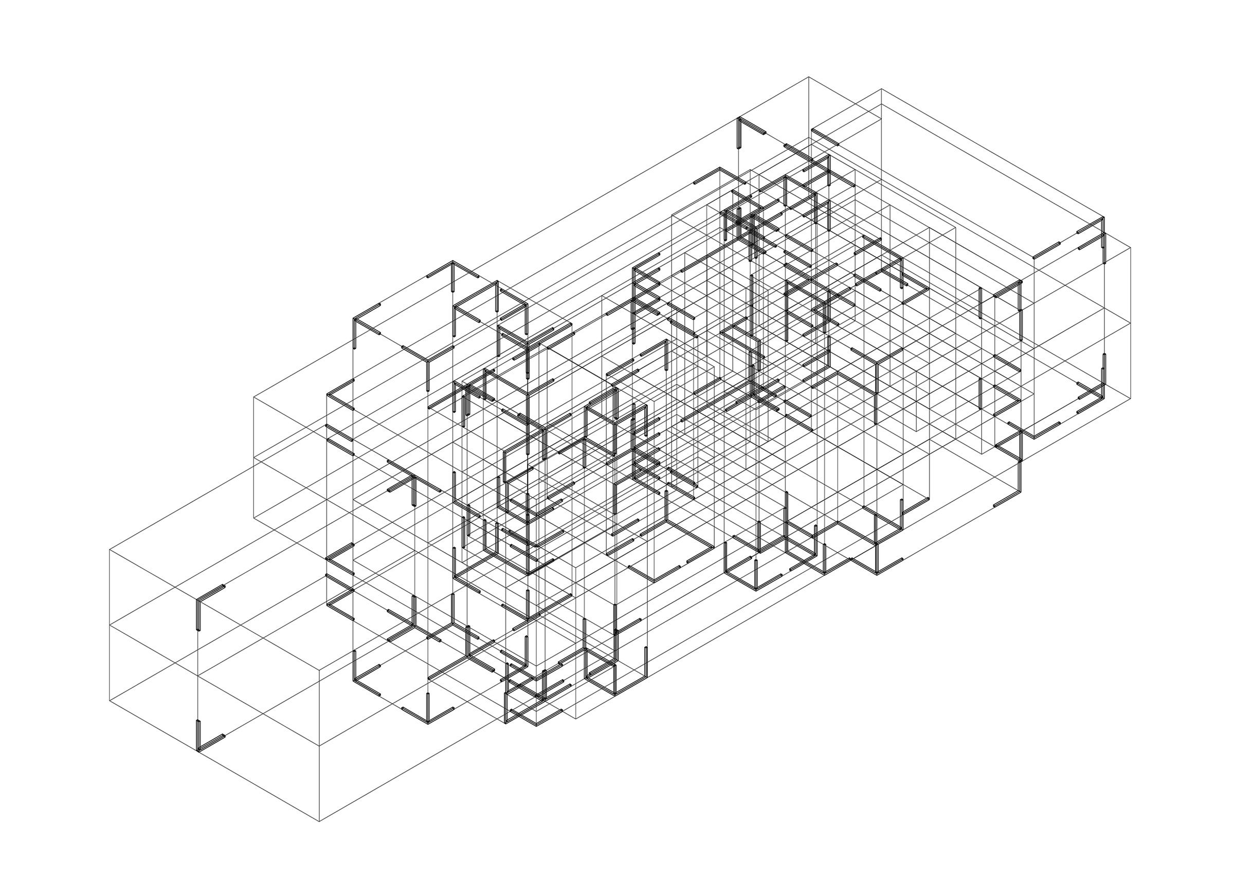 Mies Remix. Isometric drawing