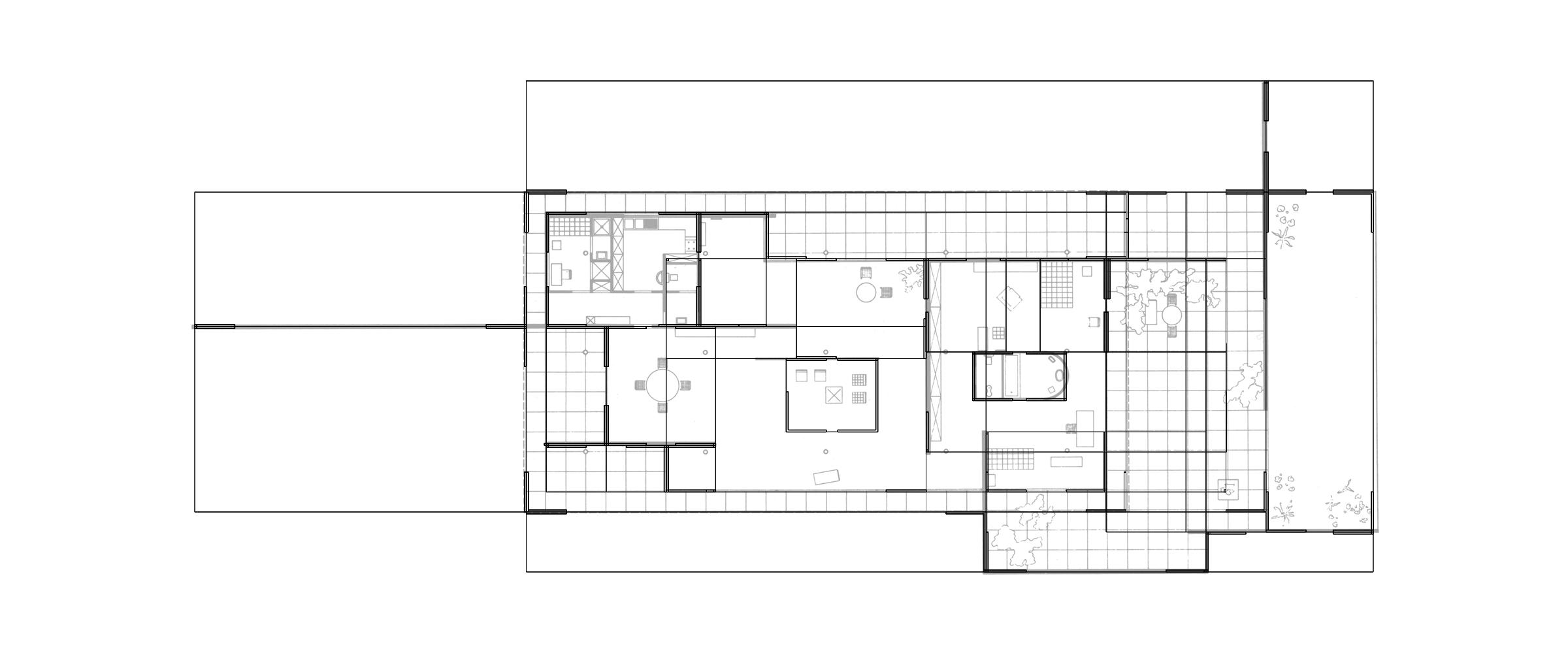 Mies Remix. Superimposed plans