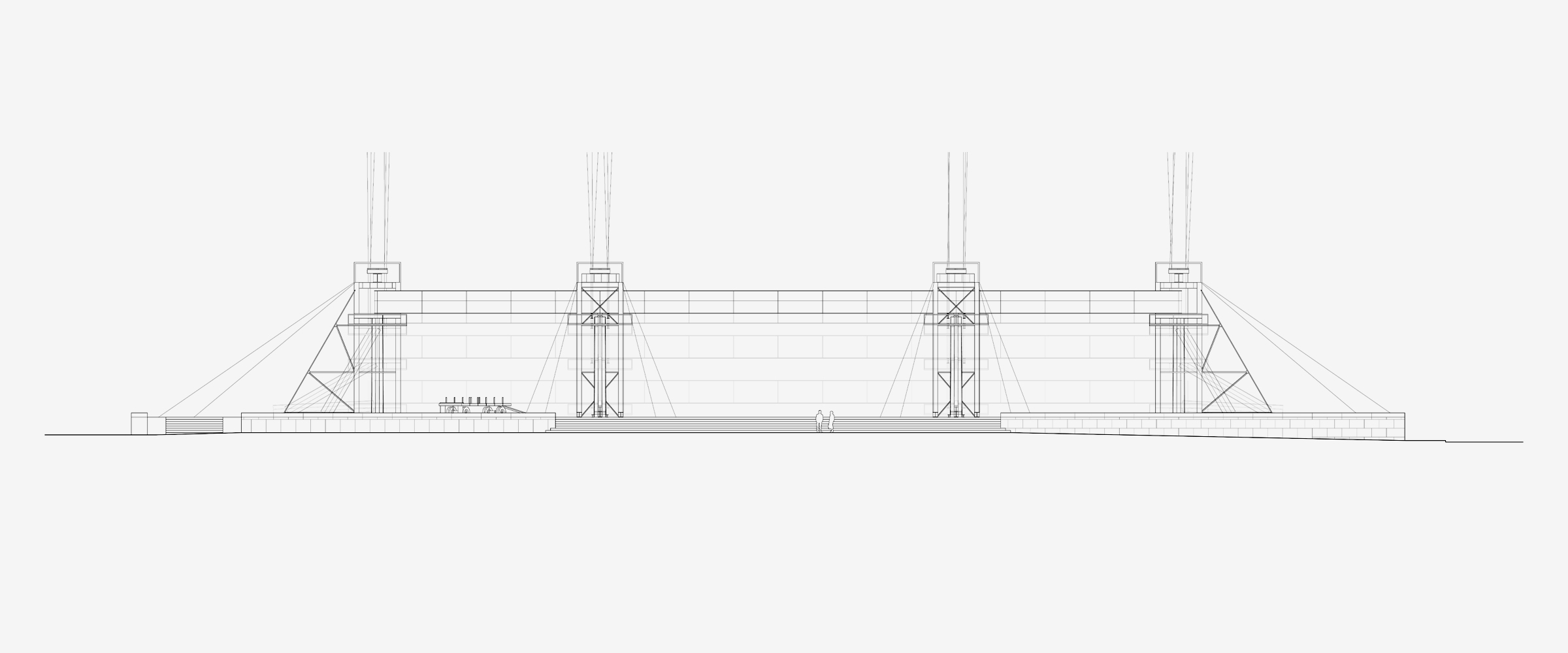 MvdR Universal. Elevation of the construction sequence. New National Gallery in Berlin, Germany (1962-1968)