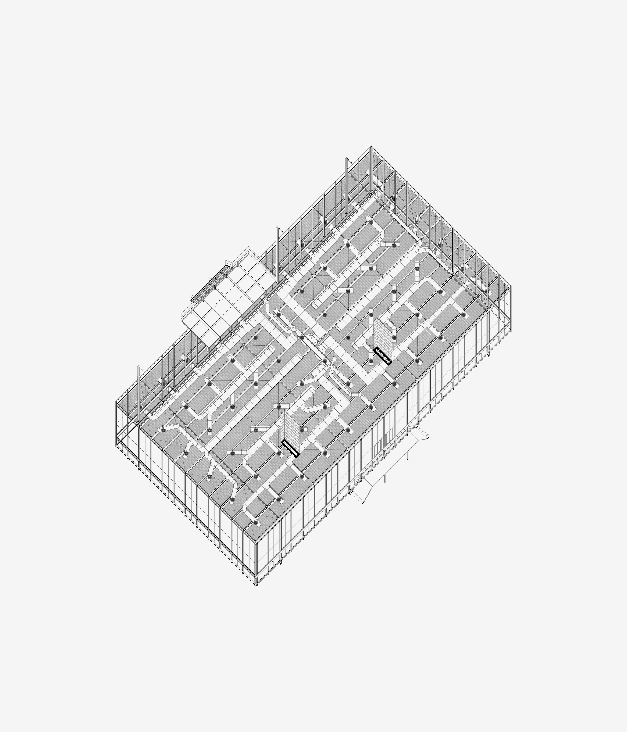 MvdR Universal. Reverse axis axonometric. Architecture and Institute of Design Building (S. R. Crown Hall at IIT) in Chicago, Illinois (1950-1956)