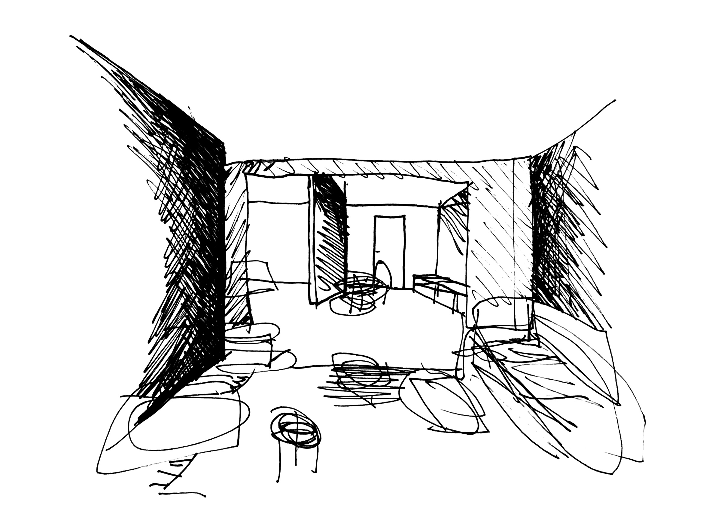 Novak House. Sketch of living room with the kitchen and studio beyond