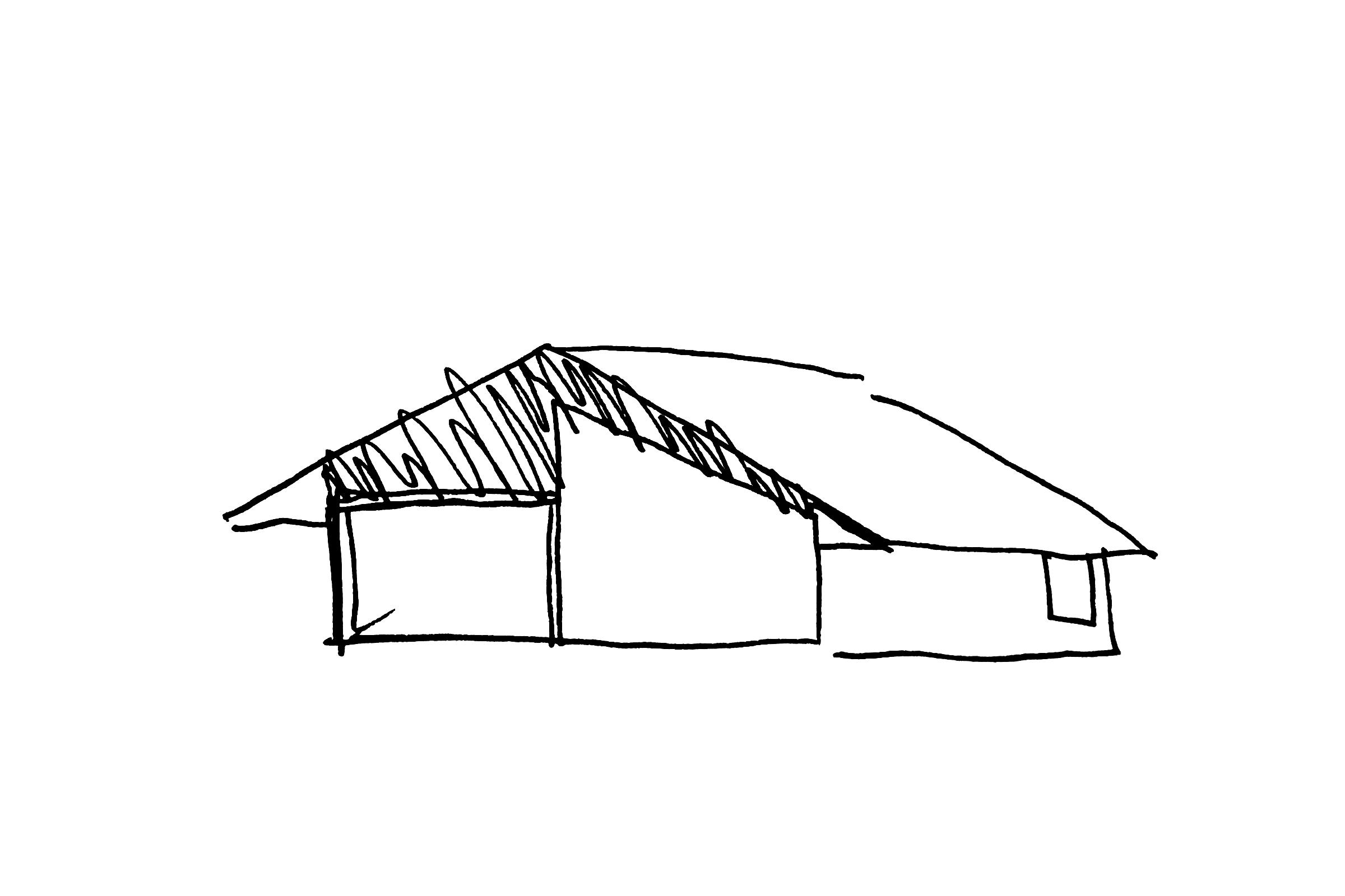 Novak House. Sketch of studio trusses