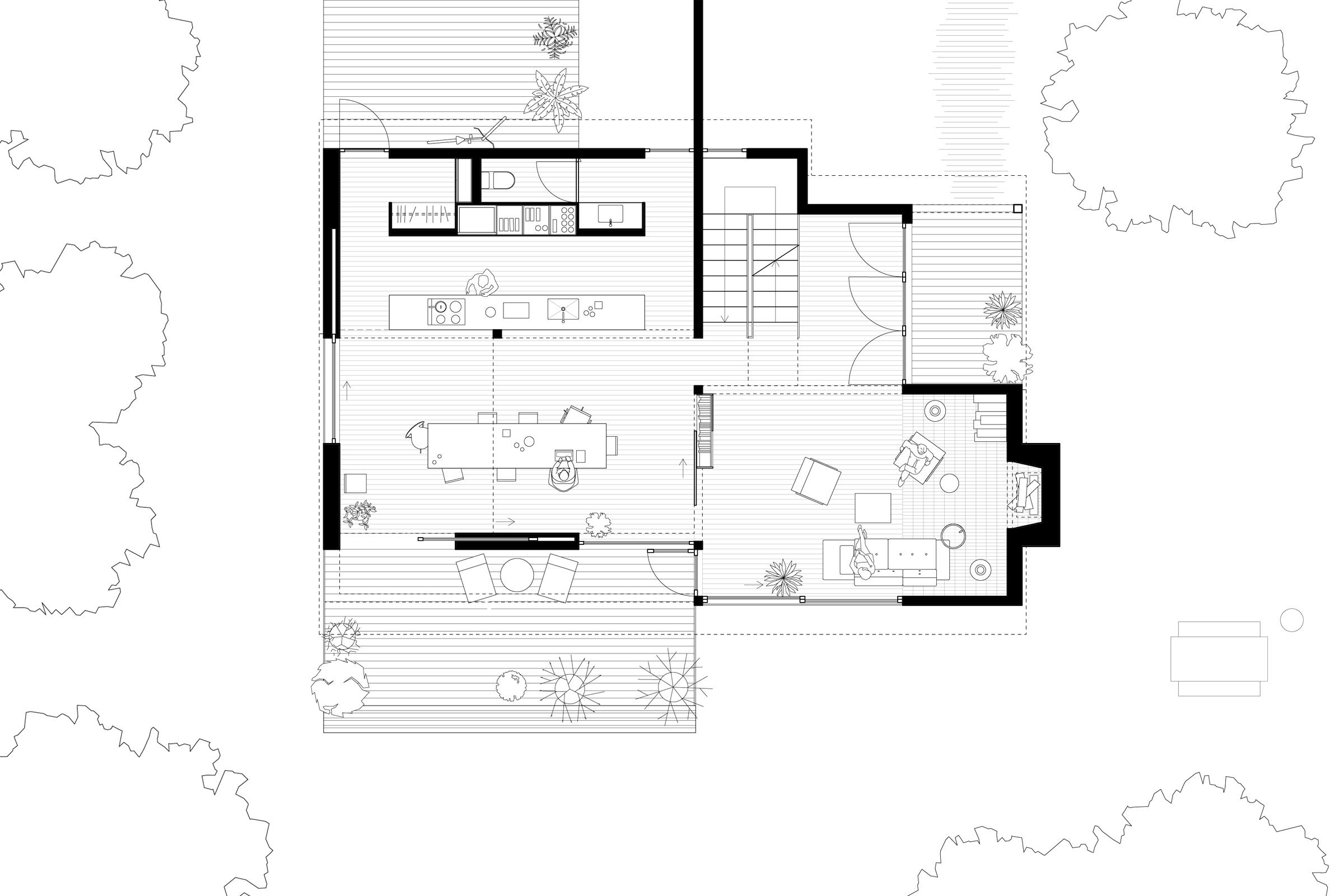 Oregon City House. Main level floor plan