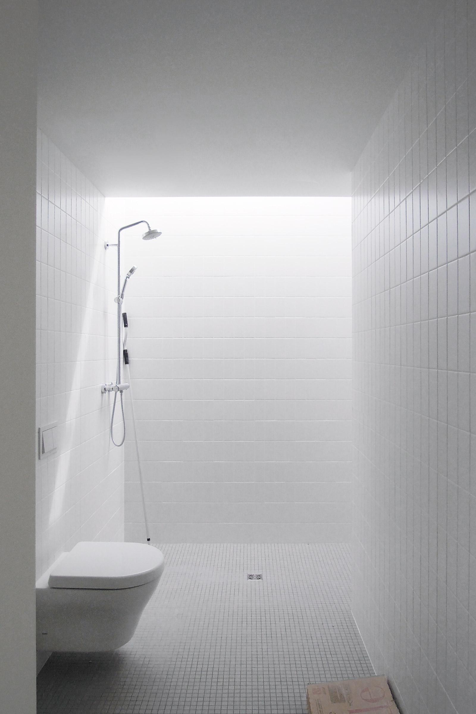 Shelton House. Bathroom with skylit shower area