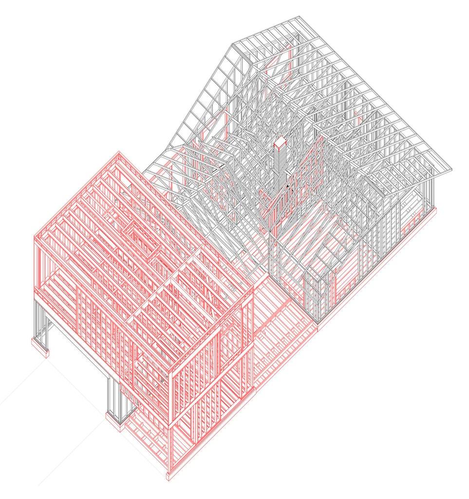 Shelton House. Framing axonometric
