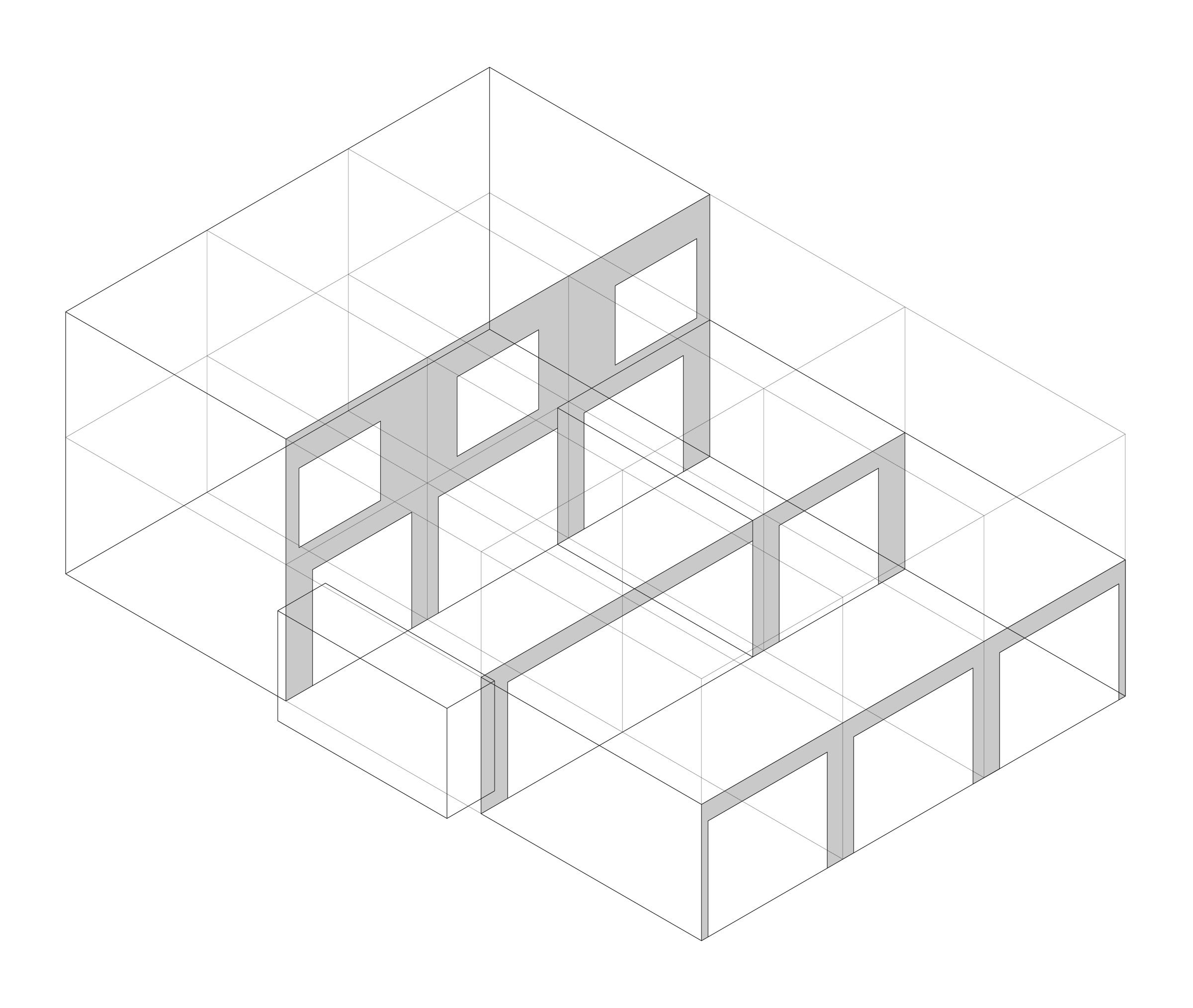 West Linn House. Organizational isometric diagram