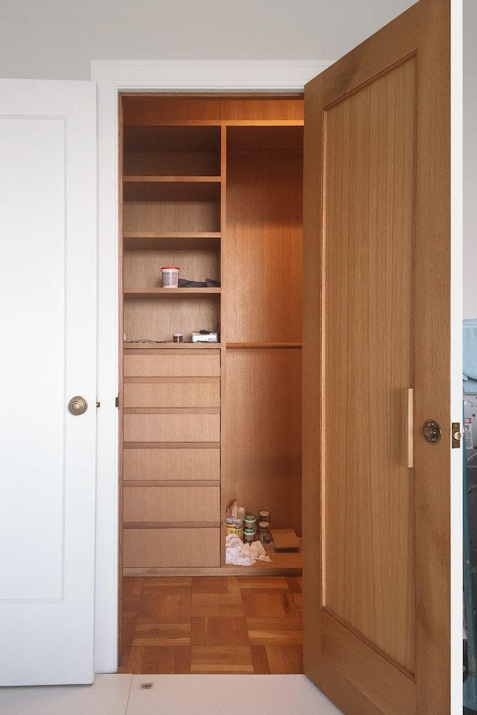 Wooden Closet. Open door