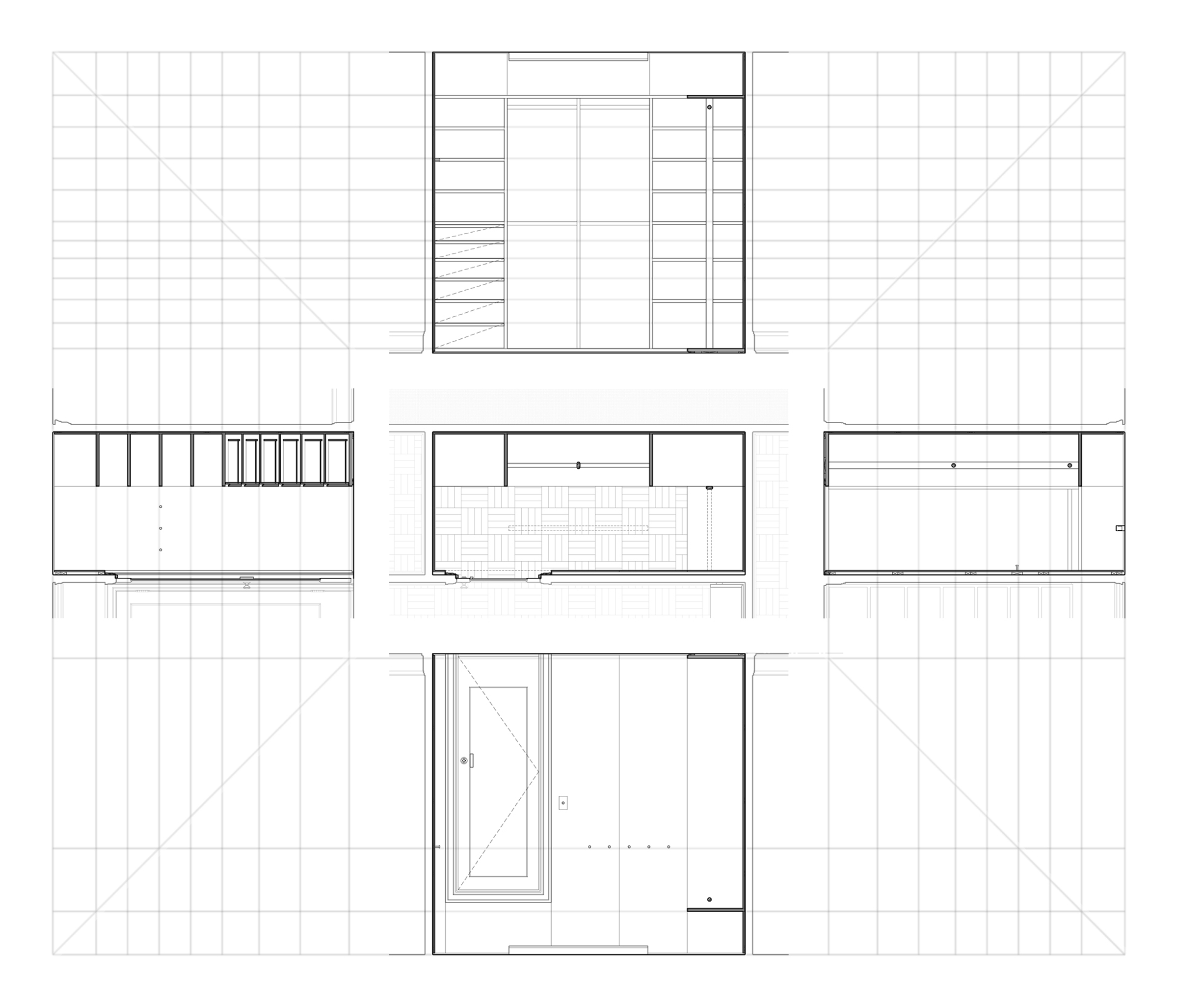 Wooden Closet. Unfolded sections and regulating geometry